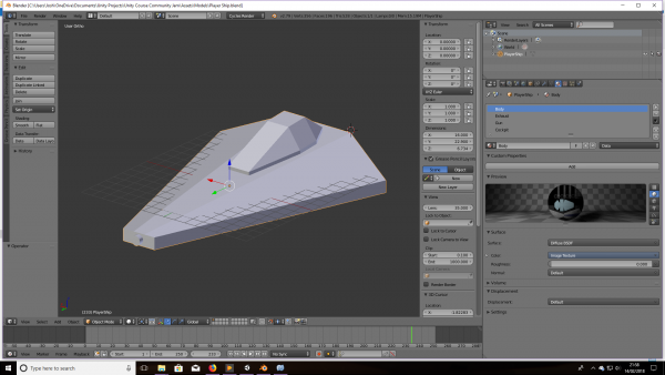 Player ship model in Blender